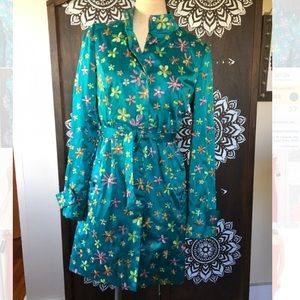 Rampage teal floral embroidered spring coat